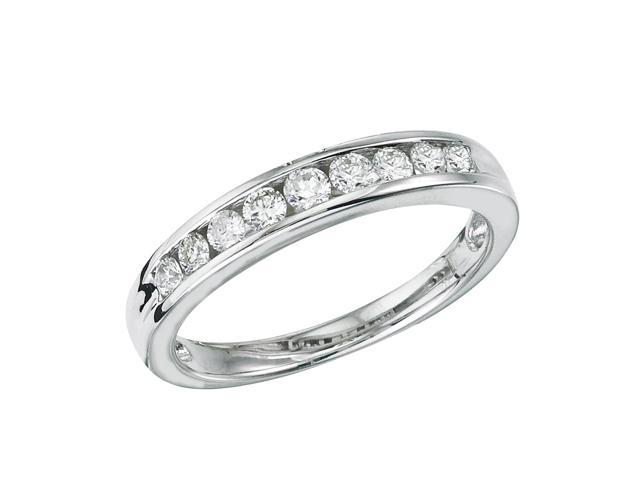 14K White Gold Channel-Set Diamond QPID Wedding Band (0.43 tcw)