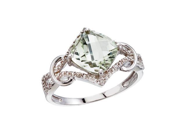 14K White Gold Green Amethyst and Diamond Cushion Ring (Size 8)