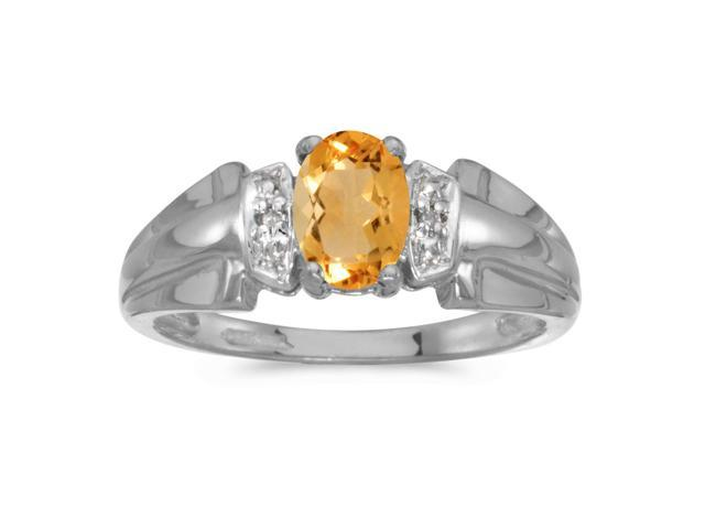 14k White Gold Oval Citrine And Diamond Ring (Size 5)