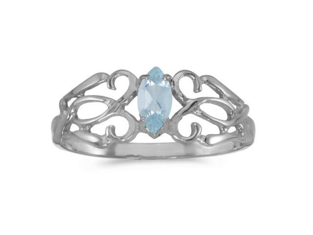 14k White Gold Marquise Aquamarine Filagree Ring (Size 9)