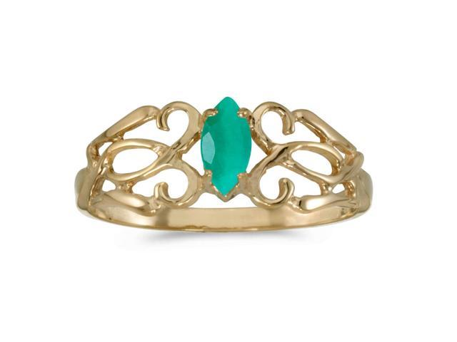 14k Yellow Gold Marquise Emerald Filagree Ring (Size 7.5)