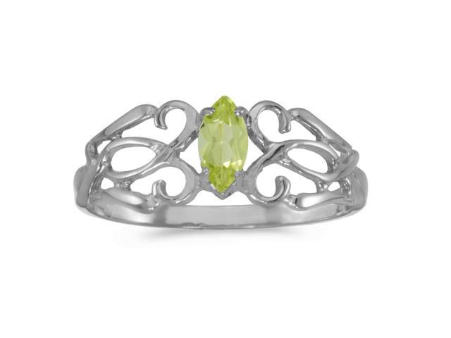 10k White Gold Marquise Peridot Filagree Ring (Size 8)