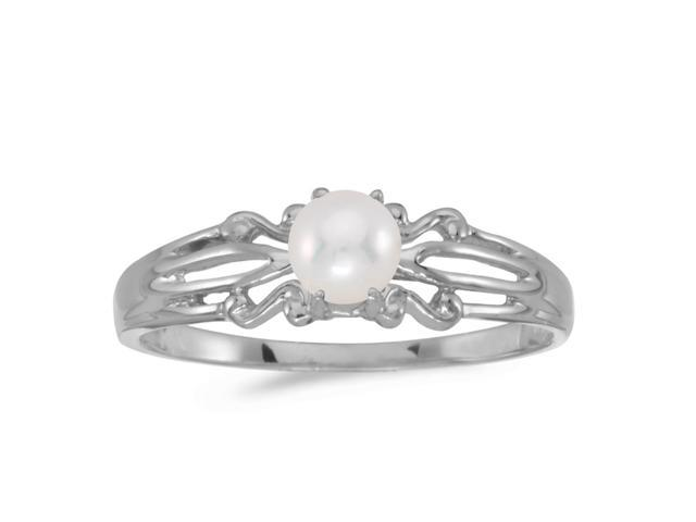 10k White Gold Freshwater Cultured Pearl Ring (Size 6)