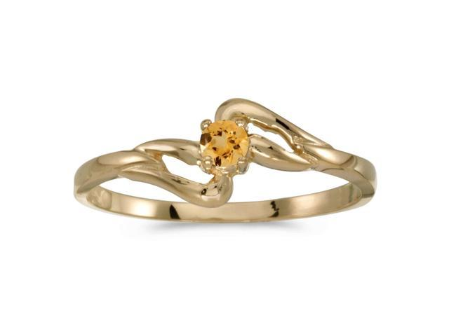 14k Yellow Gold Round Citrine Ring (Size 5)
