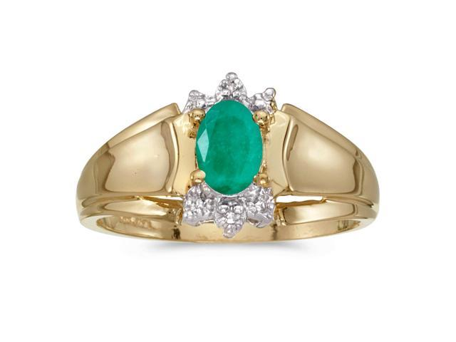 14k Yellow Gold Oval Emerald And Diamond Ring (Size 8.5)