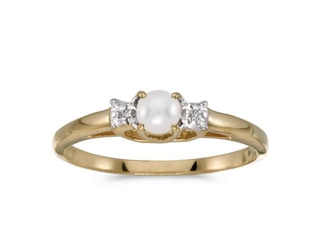 10k Yellow Gold Freshwater Cultured Pearl And Diamond Ring (Size 5.5)