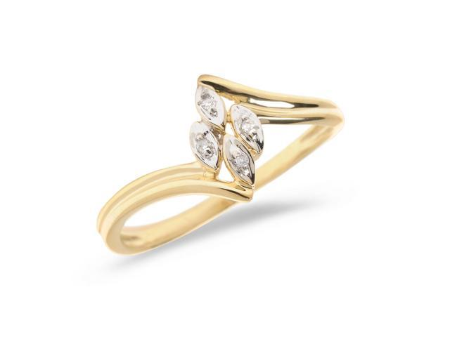 14K Yellow Gold Diamond Leaf Ring (Size 5.5)