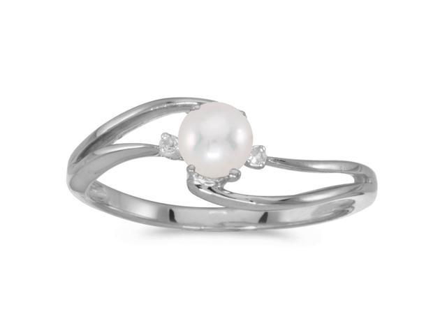 10k White Gold Freshwater Cultured Pearl And Diamond Wave Ring (Size 5)