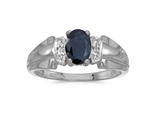 10k White Gold Oval Sapphire And Diamond Ring (Size 8)
