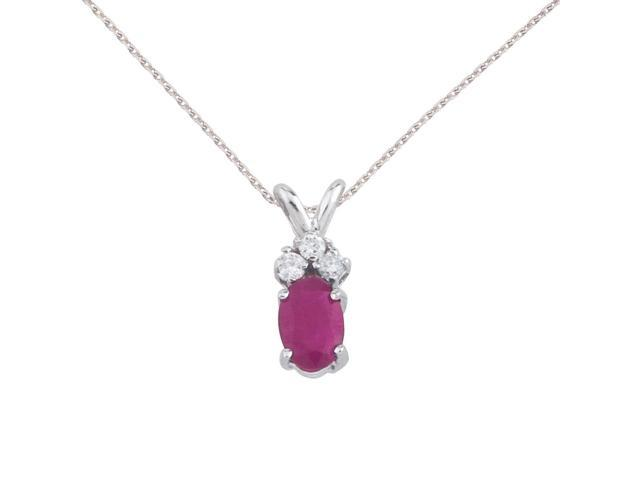 14K White Gold Oval Ruby Pendant with Diamonds and 18