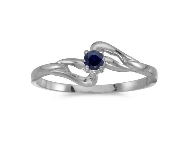 10k White Gold Round Sapphire Ring (Size 8)