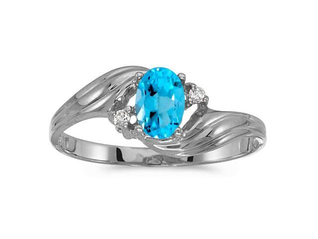 Sterling Silver Oval Blue Topaz And Diamond Ring (Size 8)