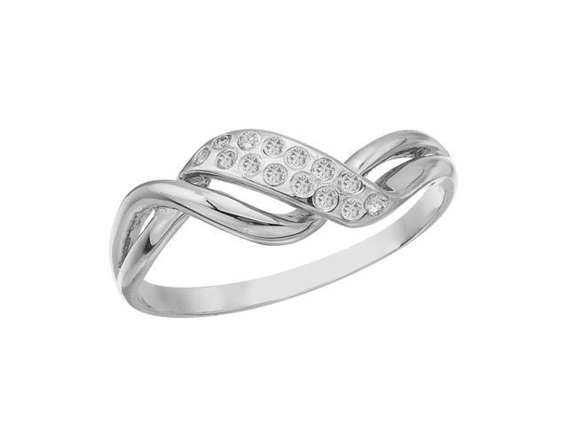 14K White Gold and Diamond Promise Ring (Size 6)