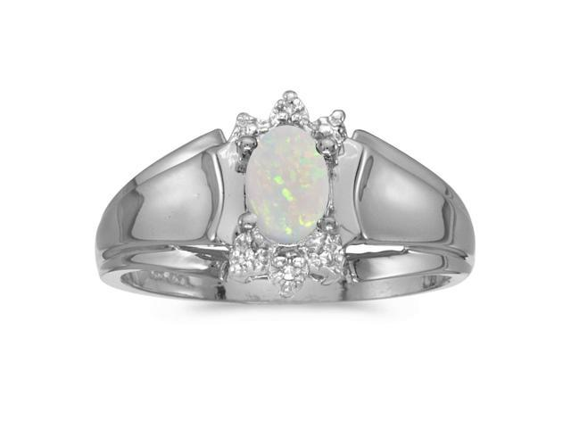 14k White Gold Oval Opal And Diamond Ring (Size 7)