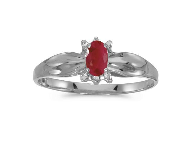 10k White Gold Oval Ruby And Diamond Ring (Size 9)