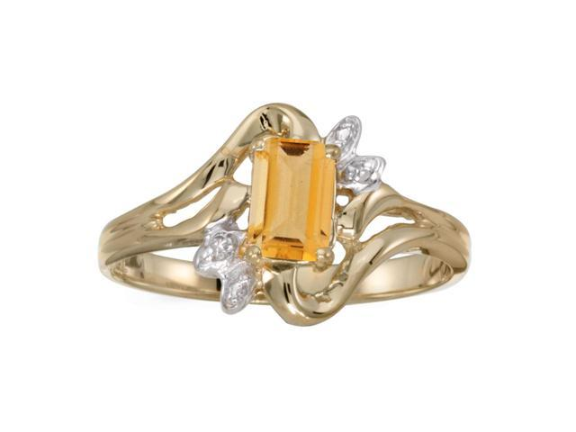 10k Yellow Gold Emerald-cut Citrine And Diamond Ring (Size 6)