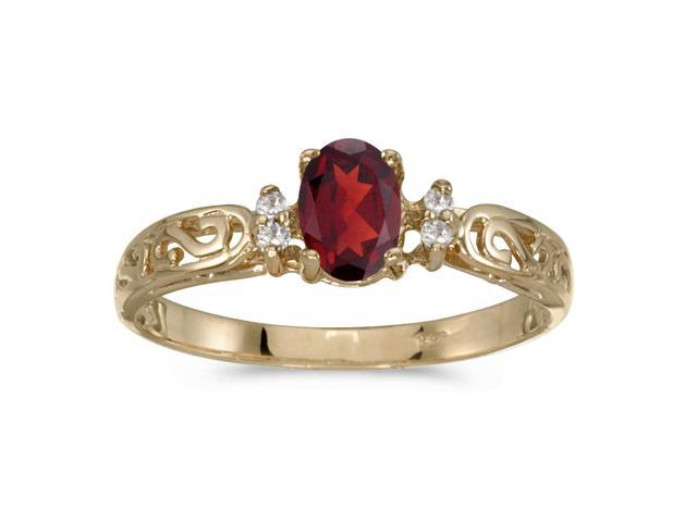 10k Yellow Gold Oval Garnet And Diamond Ring (Size 7.5)