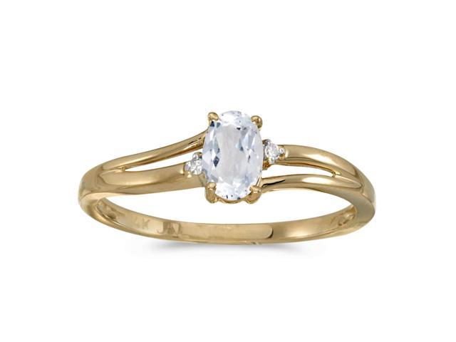 14k Yellow Gold Oval White Topaz And Diamond Ring (Size 8)