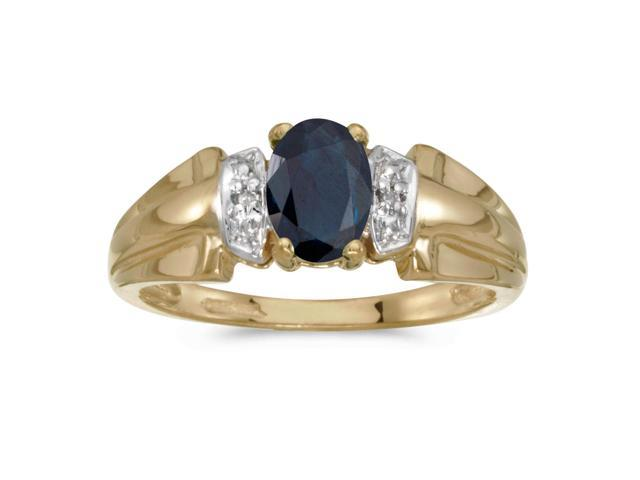 14k Yellow Gold Oval Sapphire And Diamond Ring (Size 11)