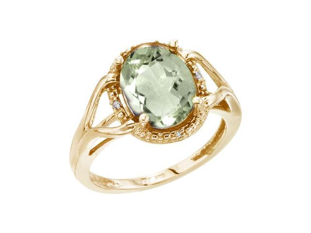 14K Yellow Gold 10x8 Oval Checkerboard Green Amethyst and Diamond Ring (Size 5.5)