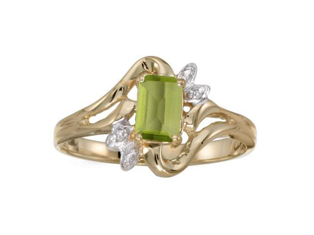 10k Yellow Gold Emerald-cut Peridot And Diamond Ring (Size 9)