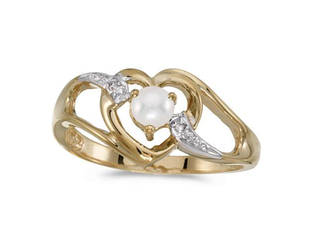 14k Yellow Gold Freshwater Cultured Pearl And Diamond Heart Ring (Size 4.5)