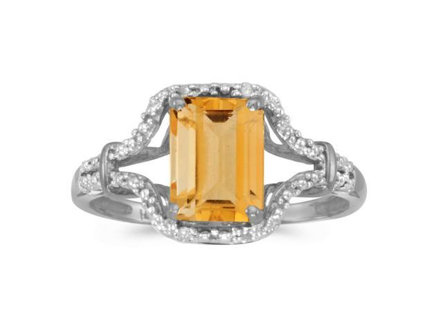 14k White Gold Emerald-cut Citrine And Diamond Ring (Size 7.5)