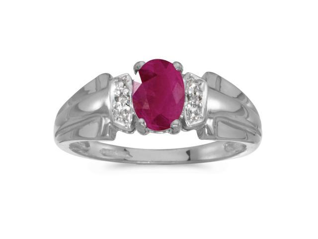 14k White Gold Oval Ruby And Diamond Ring (Size 5.5)