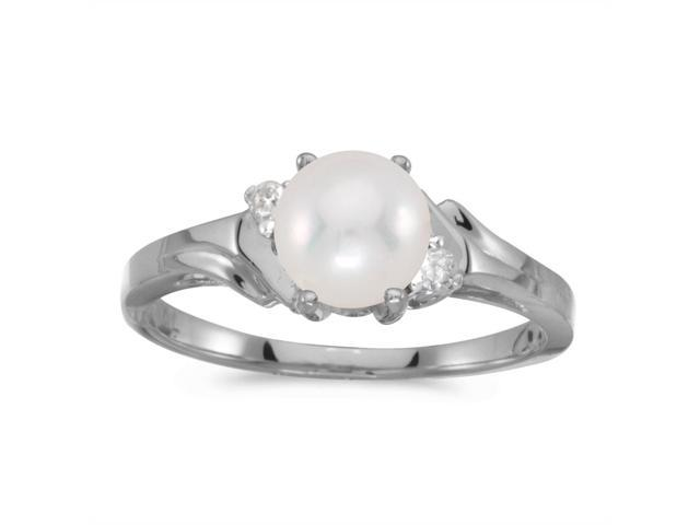 10k White Gold Freshwater Cultured Pearl And Diamond Ring (Size 5.5)