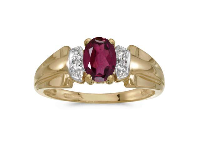 10k Yellow Gold Oval Rhodolite Garnet And Diamond Ring (Size 9.5)