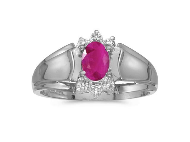10k White Gold Oval Ruby And Diamond Ring (Size 10)