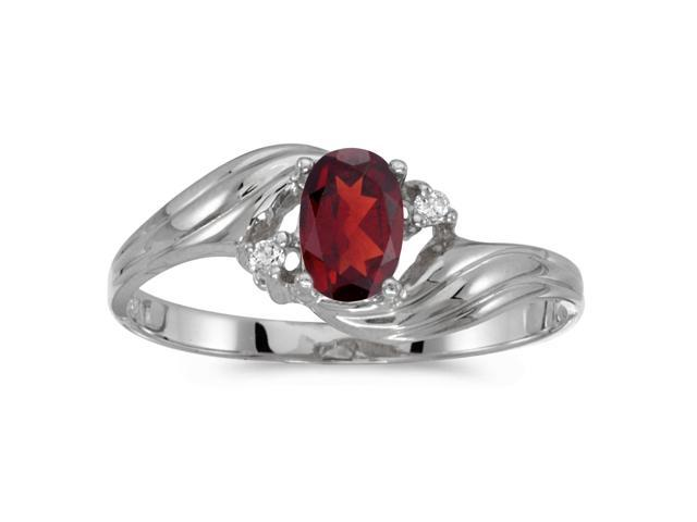 10k White Gold Oval Garnet And Diamond Ring (Size 8)