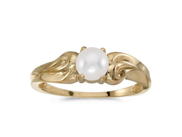 10k Yellow Gold Freshwater Cultured Pearl And Diamond Ring (Size 10)