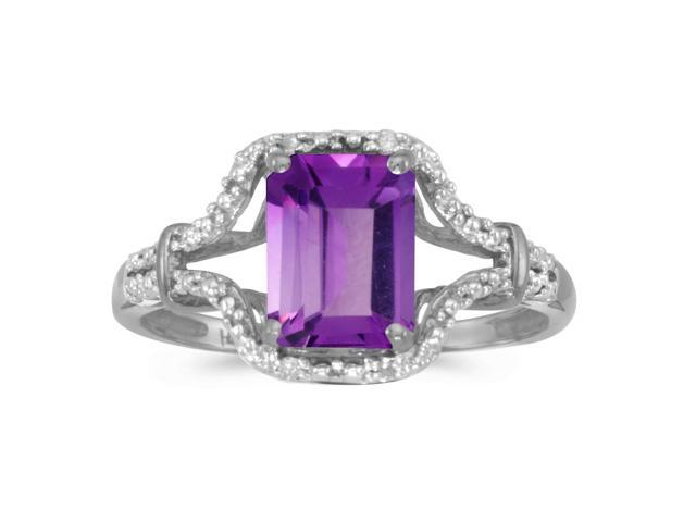 10k White Gold Emerald-cut Amethyst And Diamond Ring (Size 5)