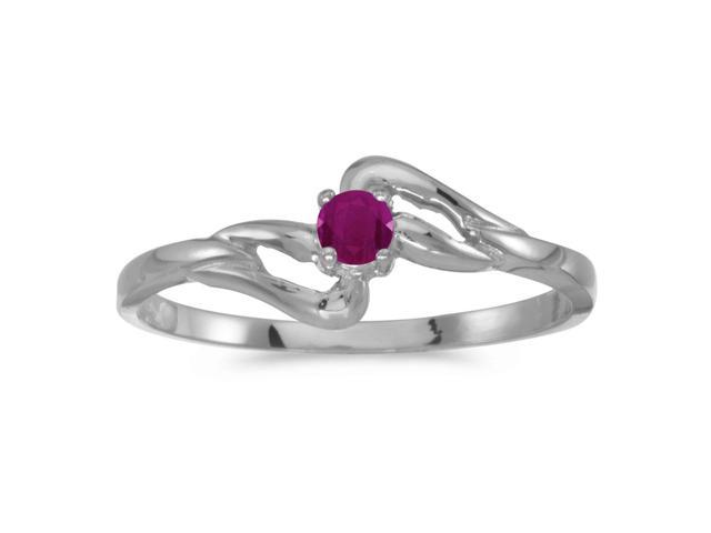 10k White Gold Round Ruby Ring (Size 8)