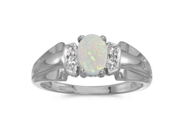14k White Gold Oval Opal And Diamond Ring (Size 9.5)