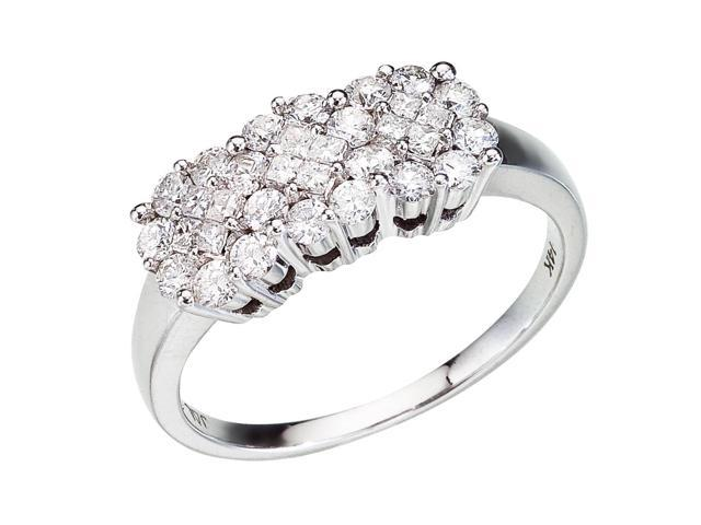14K White Gold Diamond Clustaire Ring (Size 6.5)