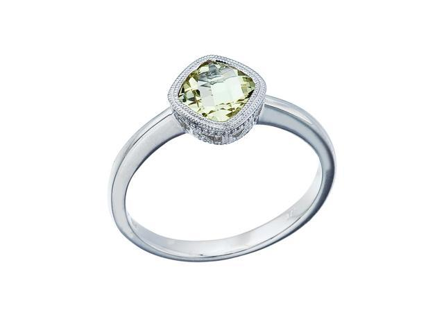14K White Gold 6 mm Cushion Green Amethyst Ring (Size 10.5)