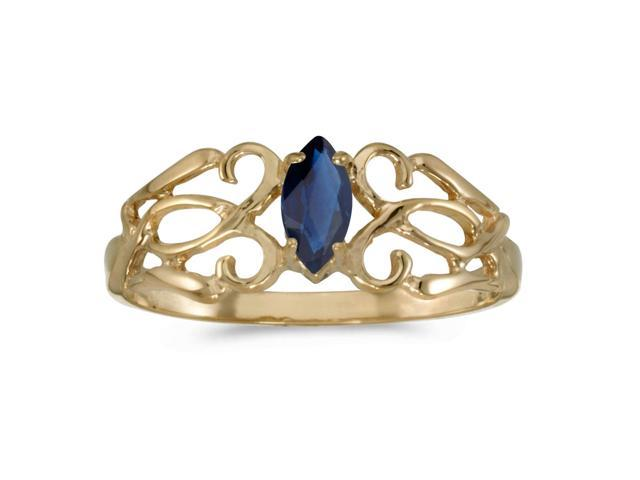14k Yellow Gold Marquise Sapphire Filagree Ring (Size 6.5)