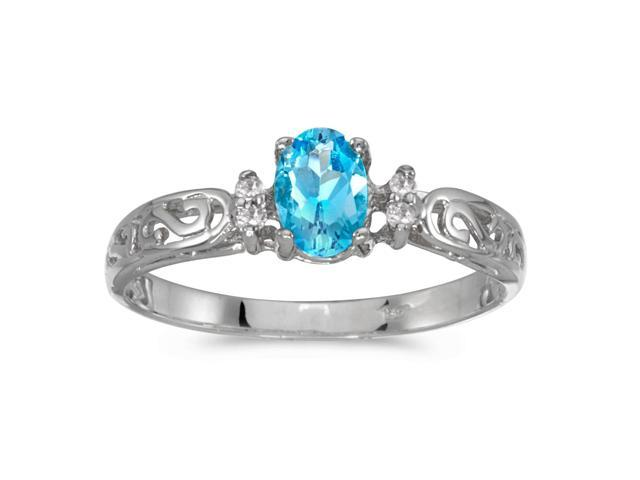 10k White Gold Oval Blue Topaz And Diamond Ring (Size 6)