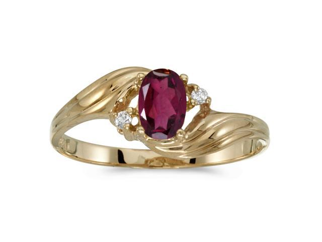 10k Yellow Gold Oval Rhodolite Garnet And Diamond Ring (Size 5.5)