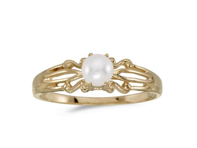 14k Yellow Gold Freshwater Cultured Pearl Ring (Size 10)
