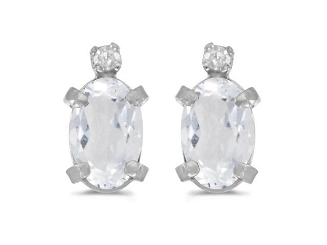 Sterling Silver Oval White Topaz and Diamond Earrings