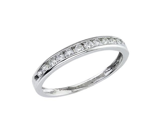 14K White Gold Channel-Set Diamond QPID Wedding Band (0.3 tcw)