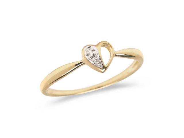 10K Yellow Gold Diamond Heart Ring (Size 5.5)