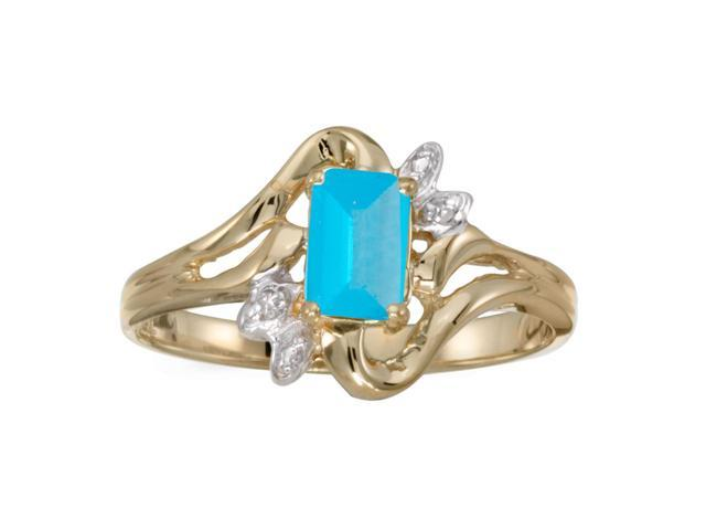 10k Yellow Gold Emerald-cut Blue Topaz And Diamond Ring (Size 11)