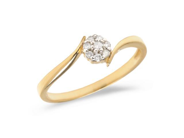 14K Yellow Gold Diamond Cluster Ring (Size 7.5)