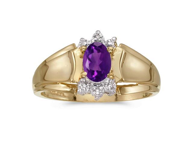 14k Yellow Gold Oval Amethyst And Diamond Ring (Size 9)