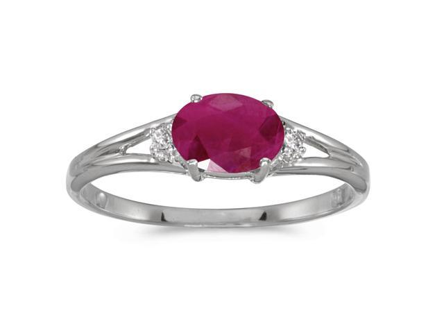 14k White Gold Oval Ruby And Diamond Ring (Size 5)