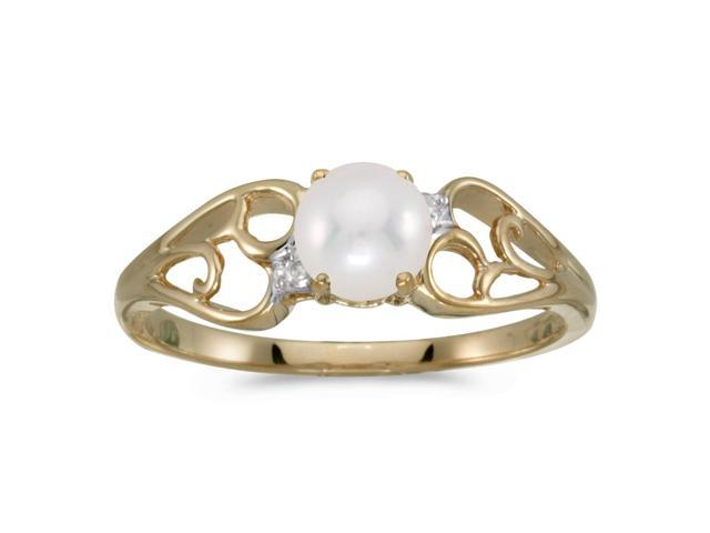 10k Yellow Gold Freshwater Cultured Pearl And Diamond Ring (Size 8)